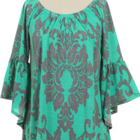 Jade and Gray Damask Print Tunic Top Plus (XL-3XL)