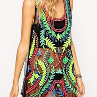 Sheer Tropical Print Tank Top