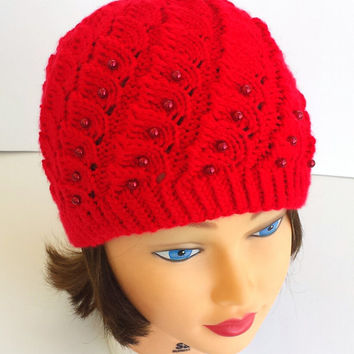 Red knit hat, super soft, stretchy, cosy beanie, decorated with beads, unique pattern, beautiful winter women's accessory.