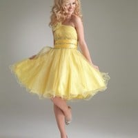 A-line One-shoulder Yellow Short Classic Prom Dress With Sequin 5071