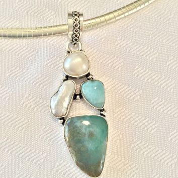 Larimar and Pearl sterling silver pendant