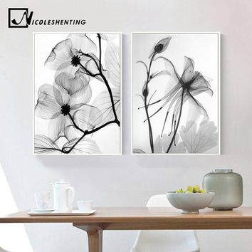 Nordic Black White Plant Abstract FlowerCanvas Posters Canvas Prints Minimalist Wall Art Painting Decorative Picture Home Decor