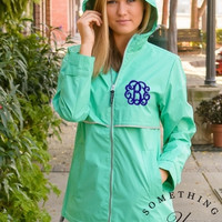 Mint Monogrammed Rain Coat Rain Jacket - Personalized Waterproof Rain Jacket, Mint and Gray Charles River Rain Jacket, Monogram Spring Coats