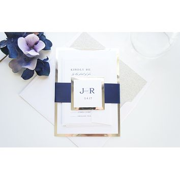Navy Wedding Invitation, Navy and Silver Wedding Invitations, Glitter Wedding Invitation - DEPOSIT
