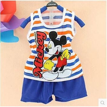 2017 Hot New Summer Children's Two-piece set Cotton Suit Children Vest Suit Children's Clothing Set Girls Boys Clothing Sets