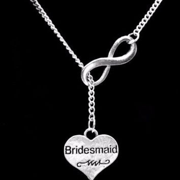 Infinity Bridesmaid Heart Gift Wedding Party Bridal Y Lariat Style Necklace