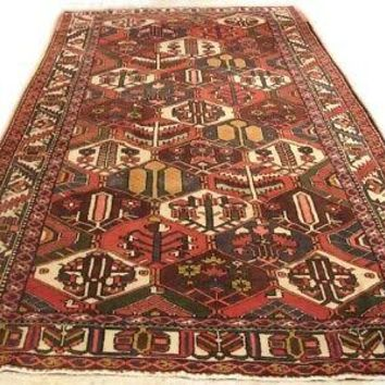 Runner Persian Rug 5' x 10' All-Over Garden Design Diamonds Red Rug
