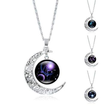 Constellation Glass Cabochon Pendant Necklace Silver Crescent Moon