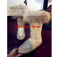 Women Short Booties Natural Fur Decor Women Snow Boots Crystal Embellished Flower Pattern Women Star Winter Warm Shoes Round Toe