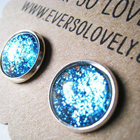 BRIDESMAIDS SET of 3 silver and teal blue sparkly metallic silver plated post earrings nickel free - summer nights and starry skies