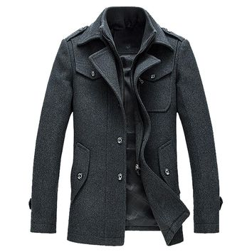 New 2018 Fashion Men's Jackets and Coats Winter Autumn Polyester Wool Blend Jackets Out Wear Jaqueta Masculina Male 3XL WS&&D