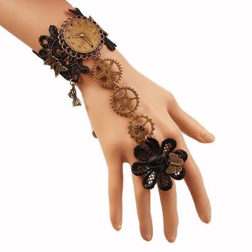 Lace with Nice Butterflies Finger Linked Gothic Steampunk Gears Bracelet