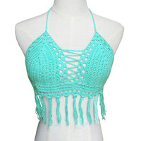 Crochet Strappy Tassel Bralet Crop Top