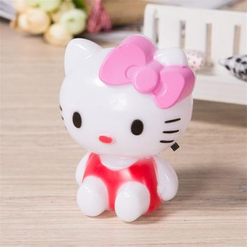 LED Night Light Hello Kitty Night Lamp ACC220V Cartoon With US Plug For Kid Baby Children Bedroom Bedside Lamp Portable Bulb JQ