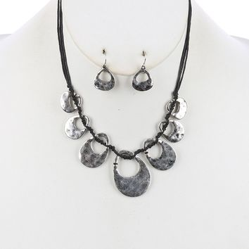 Cutout Multi Cord Bib Two Tone Knotted Necklace Earring Set Silver
