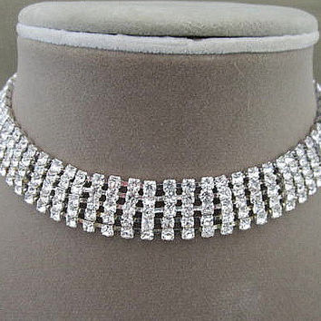 Five Row Vintage Rhinestone Choker Necklace