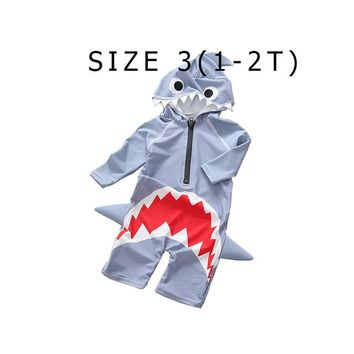 Mioigee 2018 Children Swimsuit Baby Boy Swimwear Animal Sharks Swimsuit Infant Baby Bathing Suit Swimming Pool Protection Suit