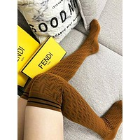 Fendi Fashion New More Letter Print Long Socks Women Brown