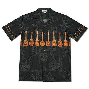 Ukulele Melody Black Hawaiian Border Aloha Shirt
