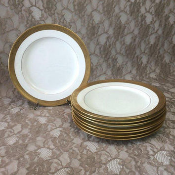 Minton Tiffany & Co Antique Luncheon Plates, Set of 8, Gold Encrusted Pinwheel Circle Rims, Porcelain Dinnerware, Wedding Table Serving