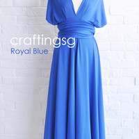 Bridesmaid Dress Infinity Dress Royal Blue Floor Length Wrap Convertible Dress Wedding Dress