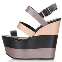 WANDA Leather Strip Wedges - Heels - Shoes - Topshop