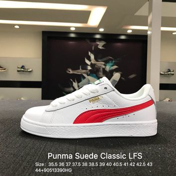 Free Shipping Puma Suede Classic Basket LFS White Red Casual Shoes Sneaker - 354367-24
