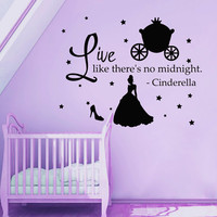 Wall Decals Quote Live Like There's No Midnight Cinderella Vinyl Decal Sticker Bedroom Interior Design Mural Baby Girl Nursery Decor MR357