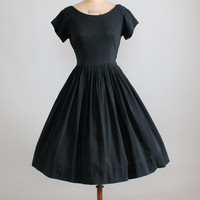 Vintage 1950s Black Cotton Ballet Neckline Day Dress
