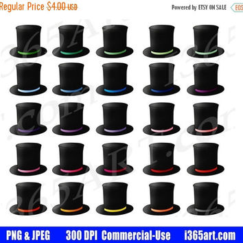 50% OFF SALE Top Hat Clipart, Top Hat Clip Art, Magician Hats, Magic Hats, Magic Show, Birthday Party Invitations, Planner Stickers, PNG