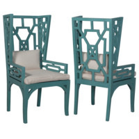 Hutton Teal Wing Chair Set of 2