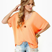 Cute Sheer Top - Orange Top - Short Sleeve Top - $31.00