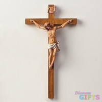 "15"" Woodtone Crucifix Set of 2"