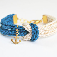 Knot bracelet with anchor charm, knitted nautical bracelet in blue and beige