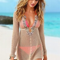 Linen Beaded Cover-up Sweater