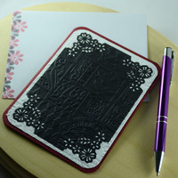 Black,red,white embossed blank notecards fleur de lis steampunk invitations