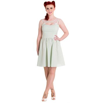 Hell Bunny Alice in the Wonderland Mint Green Gingham Check Sheer Top Party Dress