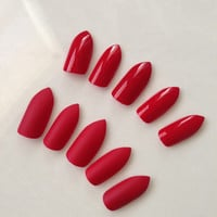Red stiletto fake nails matte or glossy finish