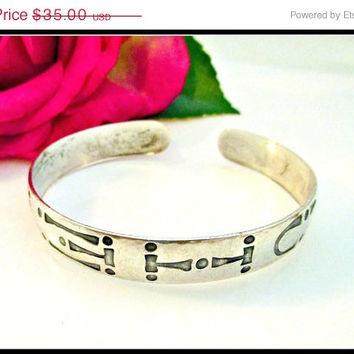 Cuff Bracelet Etched Sterling Silver Native American