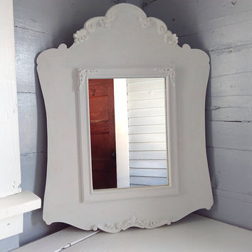 Mirror, Large, Rectangle, Wall Mirror, Framed Mirror, Home Decor, White, Bathroom Mirror, Hallway Mirror, Vintage, RhymeswithDaughter
