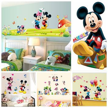 Hot Mickey Mouse  Minnie mouse wall sticker children room nursery decoration diy adhesive mural removable vinyl wallpaper XY8126