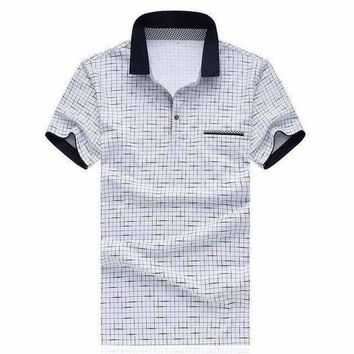 ONETOW men plaid polo shirts short sleeve casual cotton slim fit 5xlDress shirt brand polo business shirt chemise homme sl s022