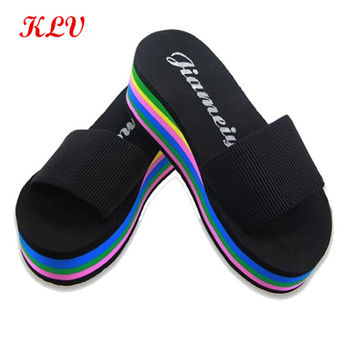 Women New Fashion Striped Rainbow Wedges Non-Slip Shoes Sandals Slipper Female Home Sandals Girls Casual Beach Slippers Dec13
