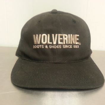 Vintage 90's Wolverine Boots And Jeans Black Snapback Dad Hat Gray Embroidery Western Wear Hipster Style