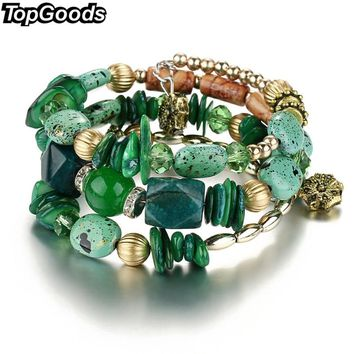 TopGoods Multilayer Irregular Agate Beads Charm Bracelets for Women Vintage Jade Stone Man Bracelets & Bangles  Ethnic Jewelry