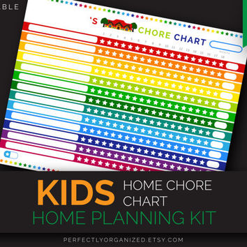Kids Home Chore Chart, Stars Chore Chart, Responsibility Reward Chart // Colorful, Planner Organizer Binder DIY // Household PDF Printables