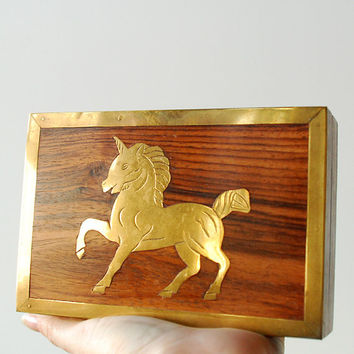 Vintage Unicorn Box Wood and Brass Trinket Box