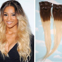 Brown To Blonde Ombre Dip Dyed Human Hair by Cloud9Jewels on Etsy