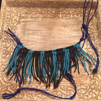 Electric blue with turquoise and black halter