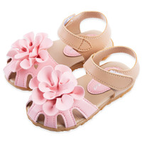 Girls Shoes Cool PU Leather Kids Summer 2017 Baby Girls Sandals Shoes Skidproof Toddlers Children Kids Flower Shoes Size 21-30